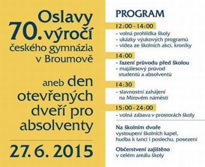 Oslavy 70.výročí českého gymnázia v Broumově se blíží