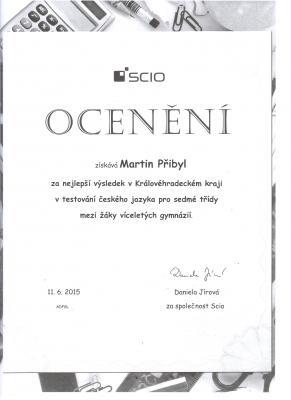 SCIO: Martin Přibyl nejlepším studentem kraje v testování
