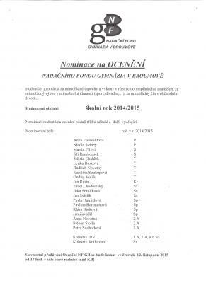 Nominace na Ocenění Nadačního fondu Gymnázia Broumov