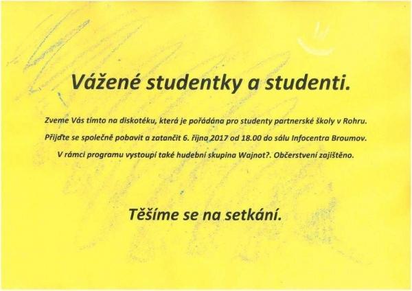 Dnes diskotéka pro studenty