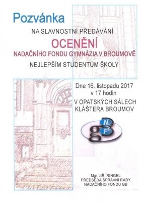 Nenechte si ujít: Slavnostní vyhlášení Ocenění Nadačního fondu Gymnázia Broumov