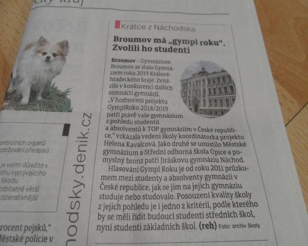 """Náchodský deník: Broumov má """"gympl roku"""". Zvolili ho studenti"""
