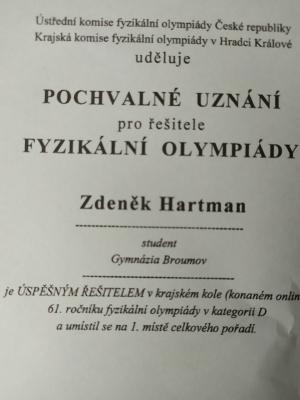 Fyzikální olympiáda - krajské kolo: Vítězem Zdeněk Hartman