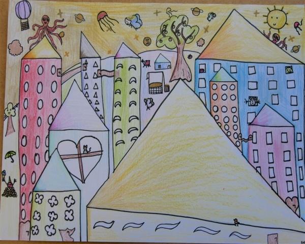 Výtvarná výchova primy: Trochu života do té šedi. Barevné pozdravy na téma Město mých snů