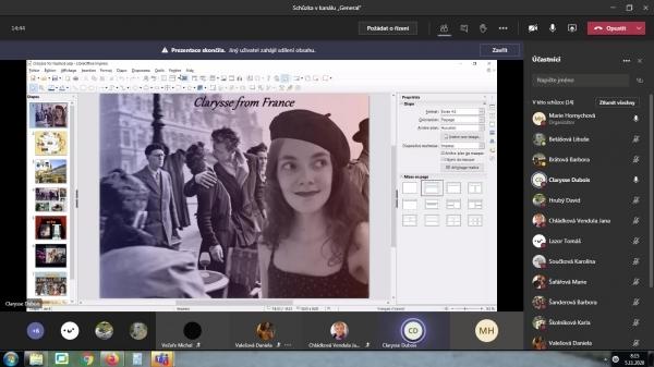 Distanční výuka francouzštiny: Rodilá mluvčí Clarysse Dubois