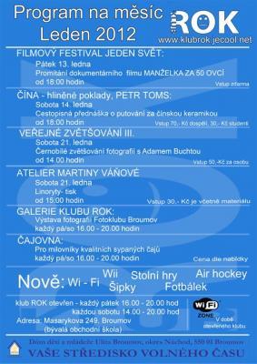 Program studentského klubu ROK - leden 2012