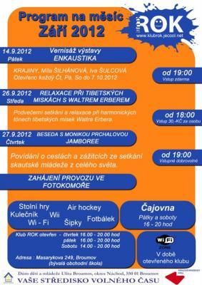 Studentský klub ROK - program na září
