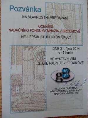 Nadační fond Gymnázia Broumov: Slavnostní ocenění
