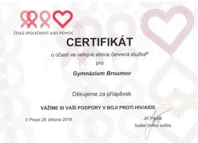 Poděkování Gymnáziu Broumov