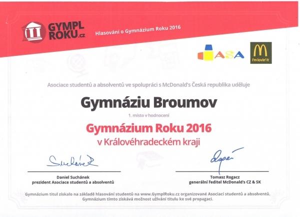Gymnázium Broumov je Gymplem roku 2016