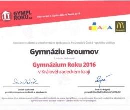 Psali o nás: Gymnázium Broumov je Gymplem roku v kraji