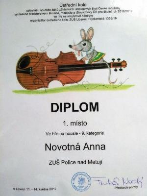 Další skvělý úspěch Anny Novotné, letošní maturantky ze 4.ročníku