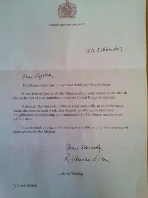 Studují na gymnáziu: Vojtěch Hrábek si dopisuje s Buckinghamským palácem