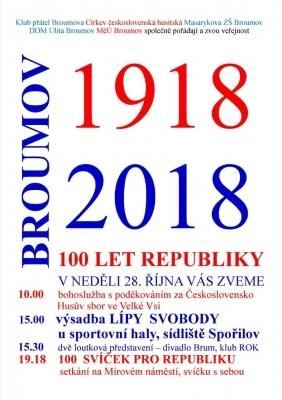 V neděli oslavíme v Broumově 100.výročí založení Československa 28.10.1918