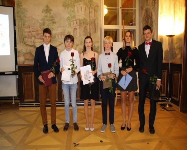 Předávání Ocenění Nadačního fondu 2018 : Studenti roku - Václav Kopřiva, Barbora Jirásková, Jakub Zima