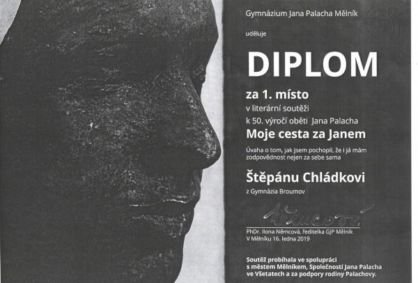 """Celostátní literární soutěž """"Moje cesta za Janem"""": Nejlepší práce Štěpán Chládek z Gymnázia Broumov"""