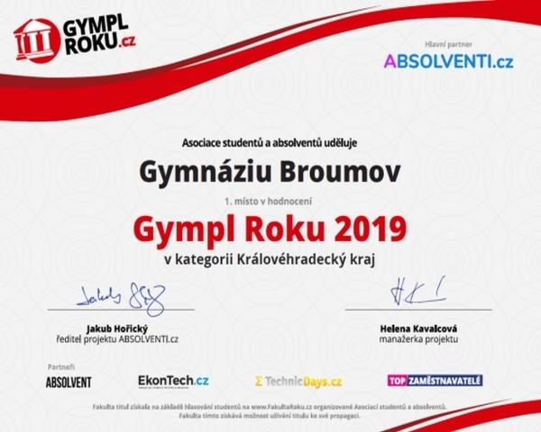 Fantazie:  Gymnázium Broumov Gymnáziem roku 2019