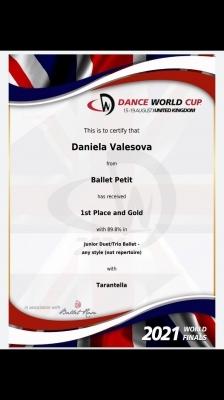 Daniela Valešová vítězkou světové baletní soutěže