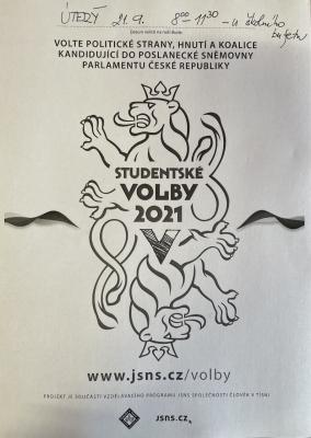 Studentské volby pro všechny studenty ve věku 15 + se konají v úterý 21.9. dopoledne před učebnou ZSV.
