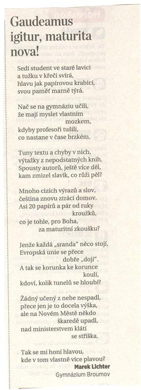 Marek Lichter v celostátním vydání MF DNES