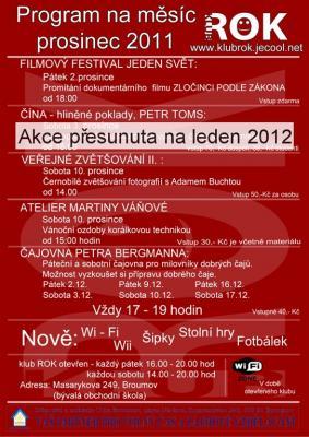 Studentský klub ROK - program na prosinec