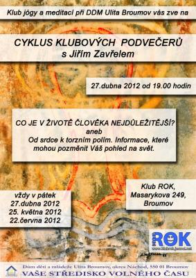 Klub ROK - Cyklus podvečerů s Jiřím Zavřelem