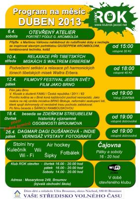 Studentský klub ROK - program na duben 2013
